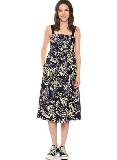 Çiçek Desenli Askılı Uzun Elbise-Black Pepper